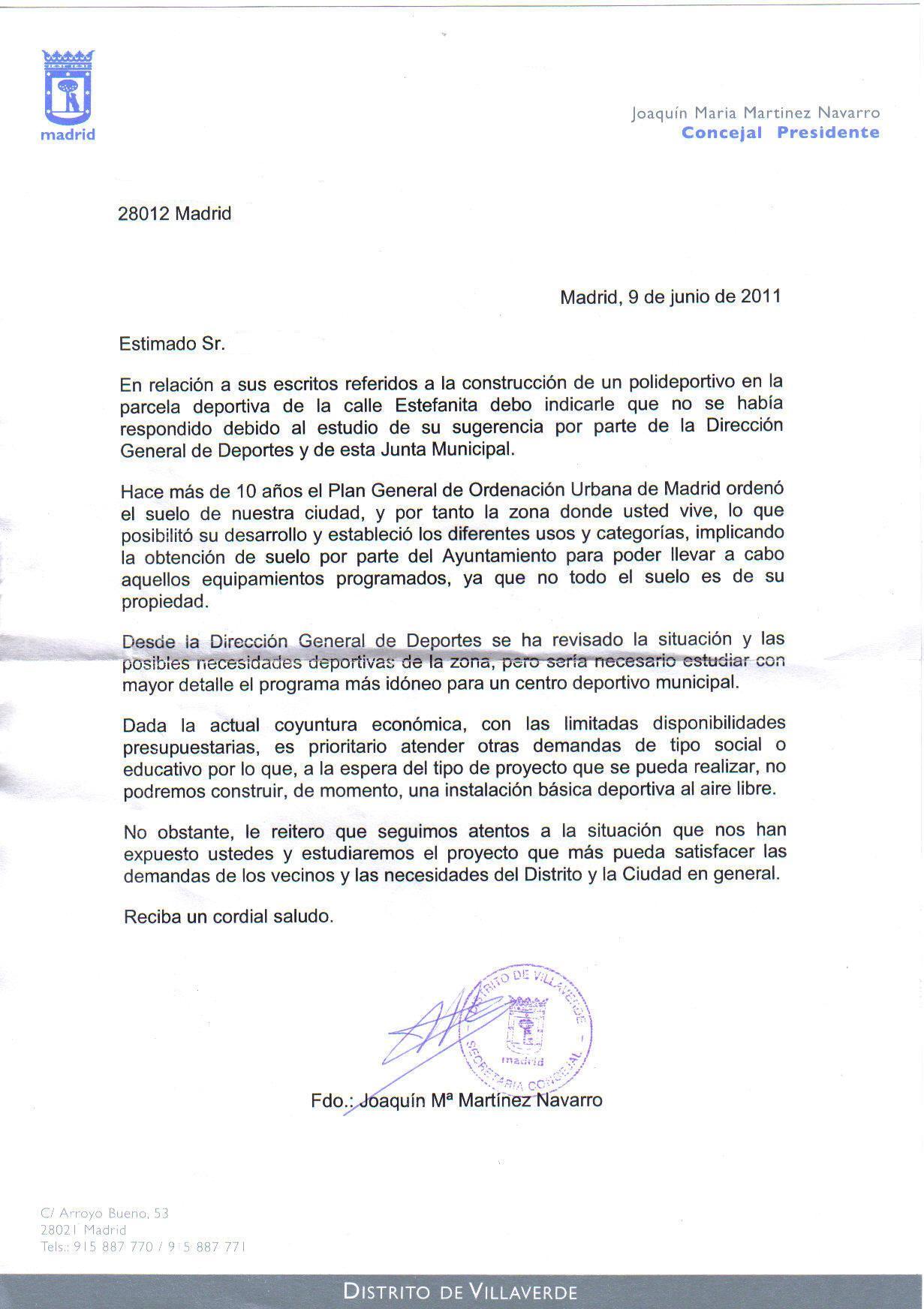 Respuesta Junta Municipal solicitud polideportivo