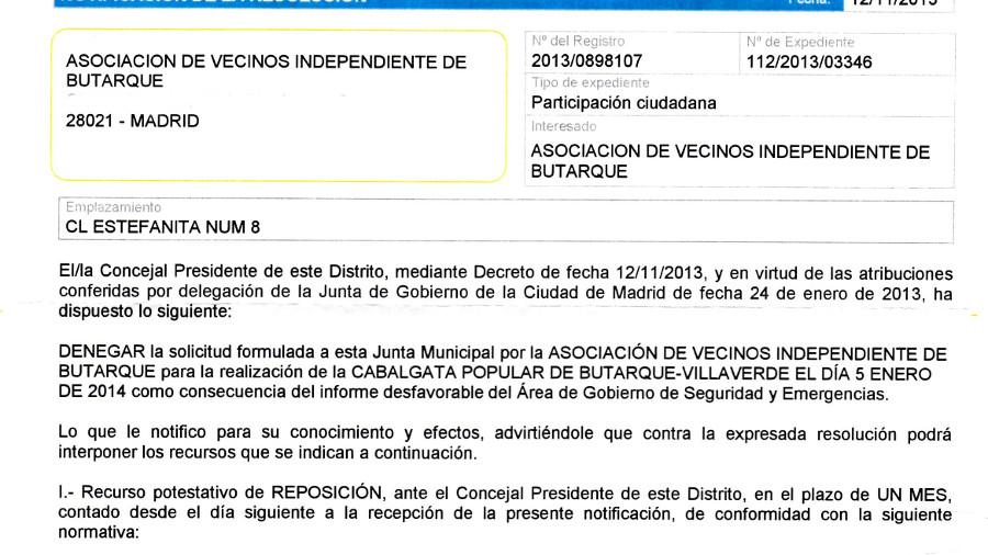 El Ayuntamiento de Madrid deniega un año más la Cabalgata Popular