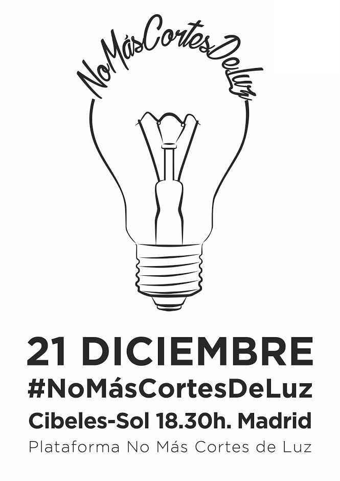 El 21 de diciembre, participa en los actos contra la pobreza energética: NoMásCortesdeLuz