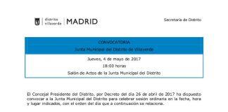Pleno de la Junta Municpal de mayo de 2017