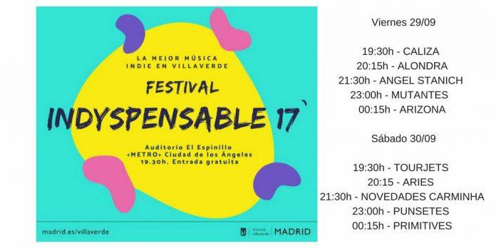 Horarios del festival Indyspensable 2017